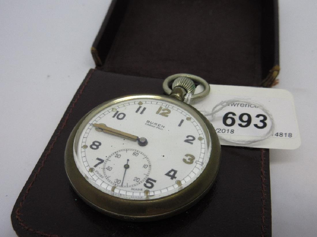 Buren military open face pocket watch with subsidiary