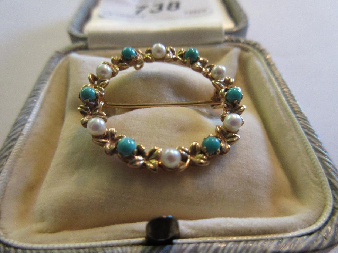 9ct Gold turquoise and seed pearl brooch in the form of