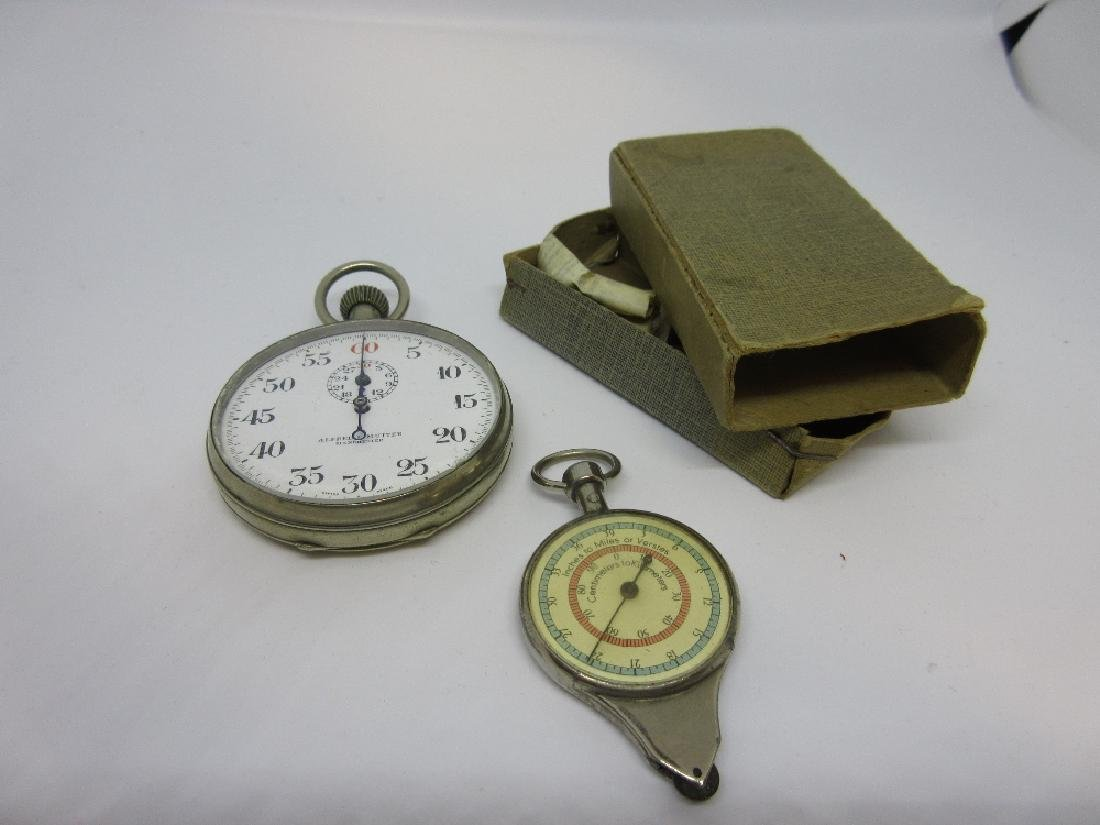 20th Century steel cased open face stop watch inscribed