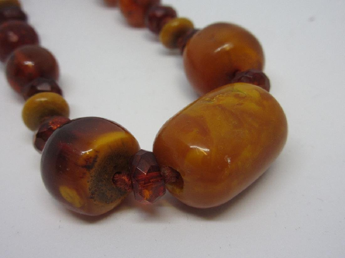 Faceted bead and amber necklace - 2