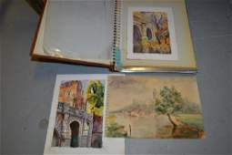 Album containing a collection of small watercolours and