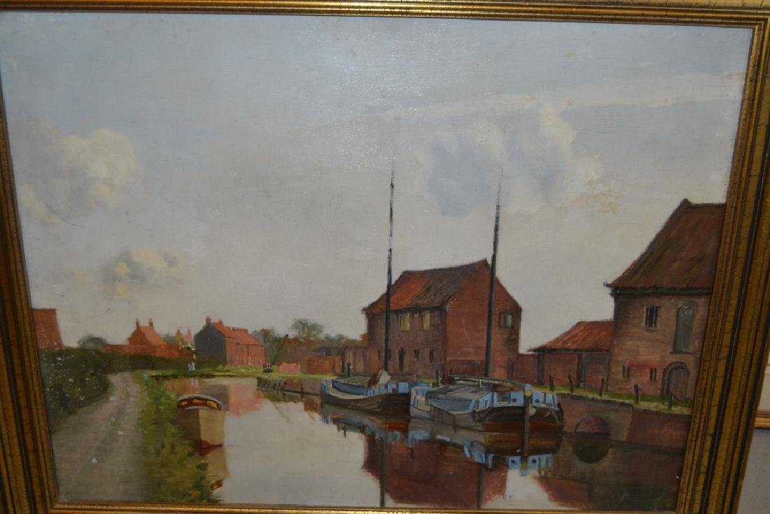 20th Century oil on board, canal scene with moored