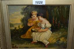 19th Century oil on board, two girls with a birds nest