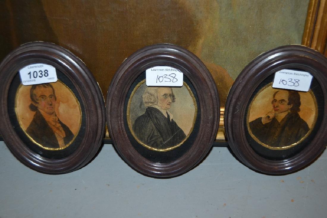 Group of three 19th Century watercolour portrait