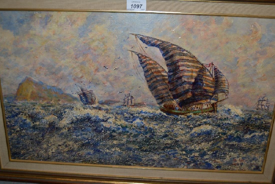 Oil on board, maritime scene, sailing vessels off a