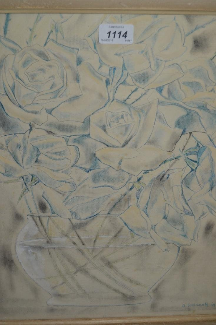 Boris Smirnoff, signed mixed media on paper, flowers in