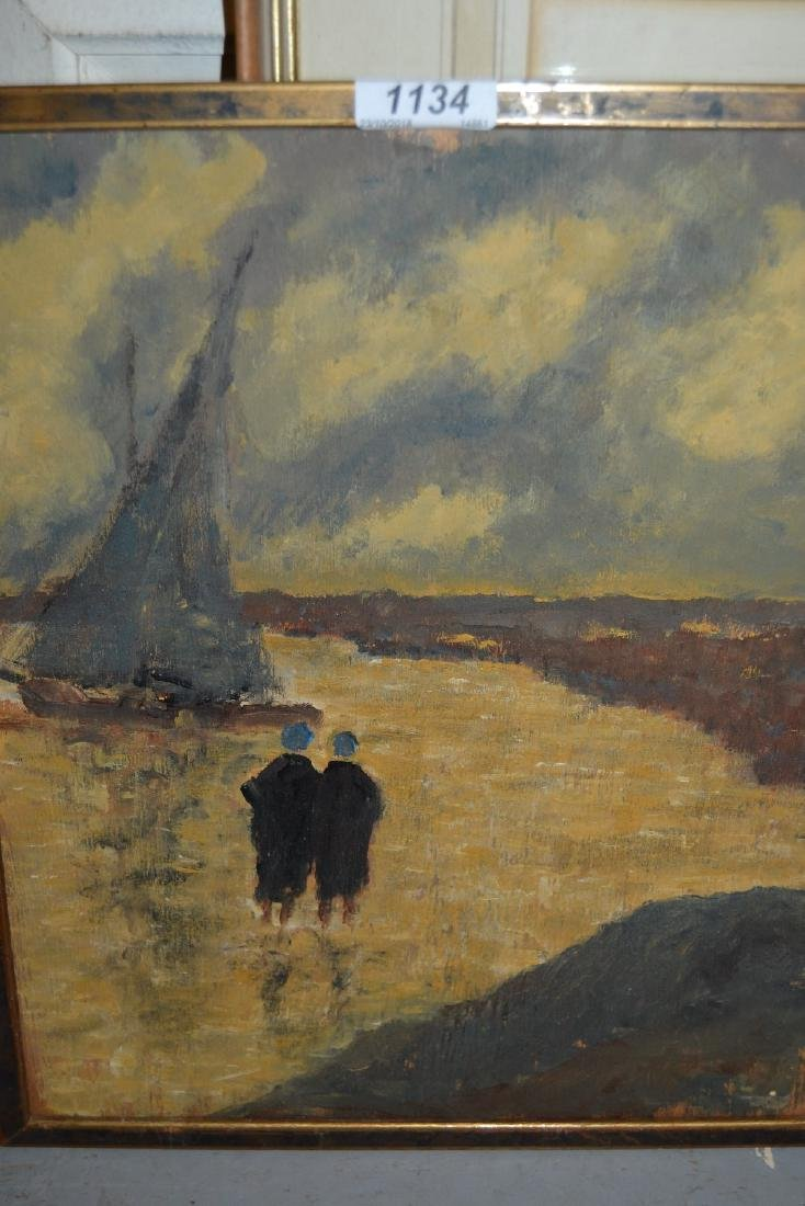 Oil on board, coastal inlet with two figures by a boat,