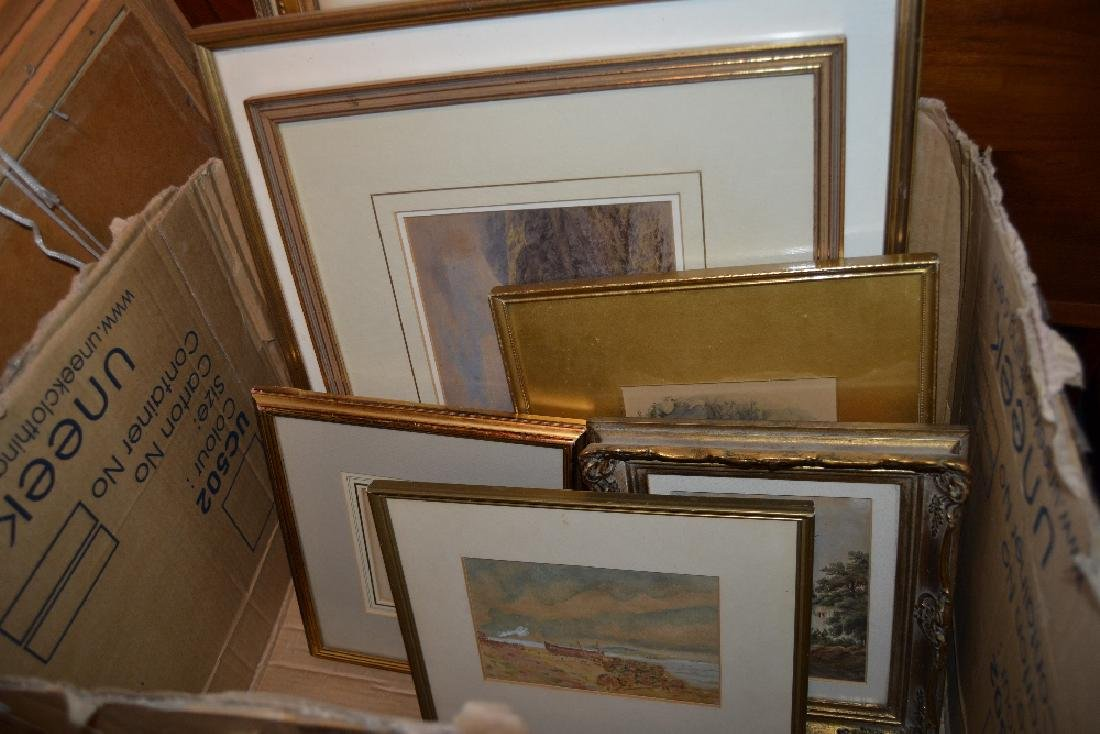 Box containing a quantity of various framed