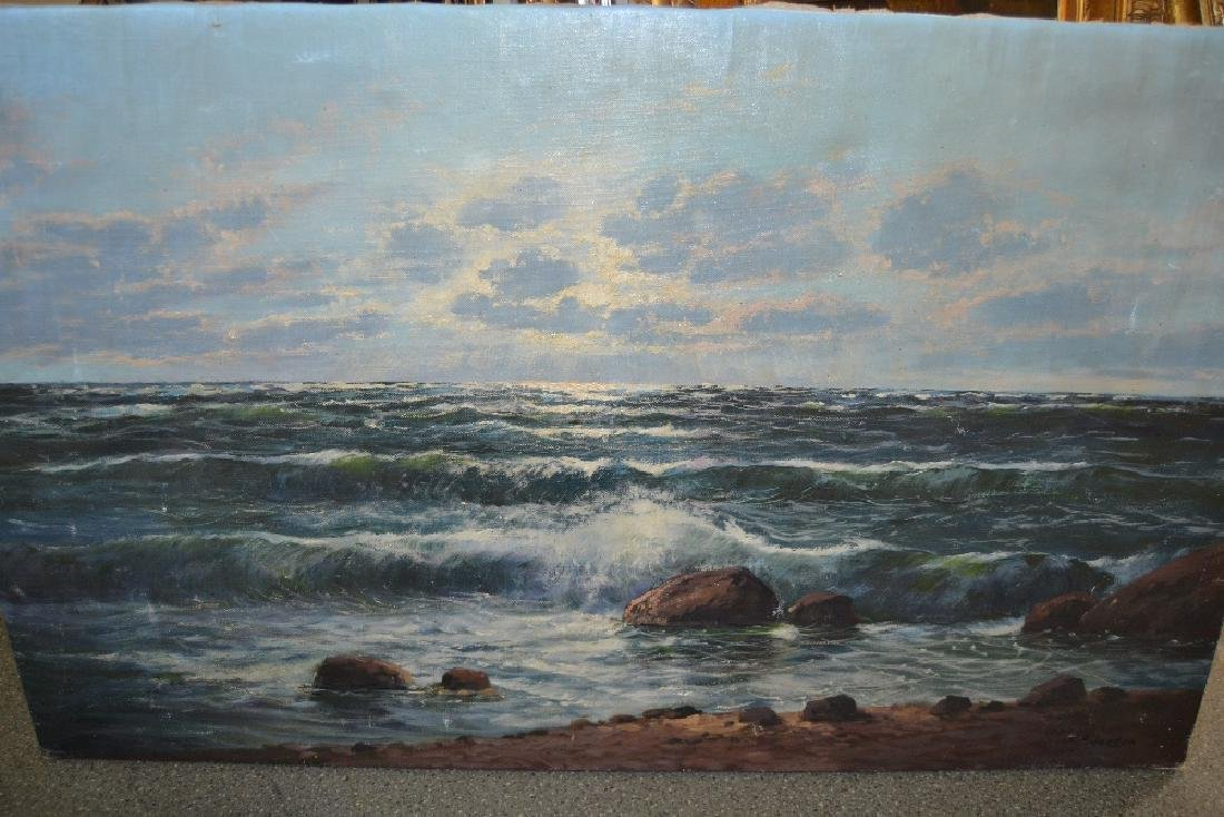 Unframed oil on canvas, seascape at sunset, signed