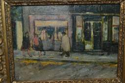 Oil on board street scene with figures by shops