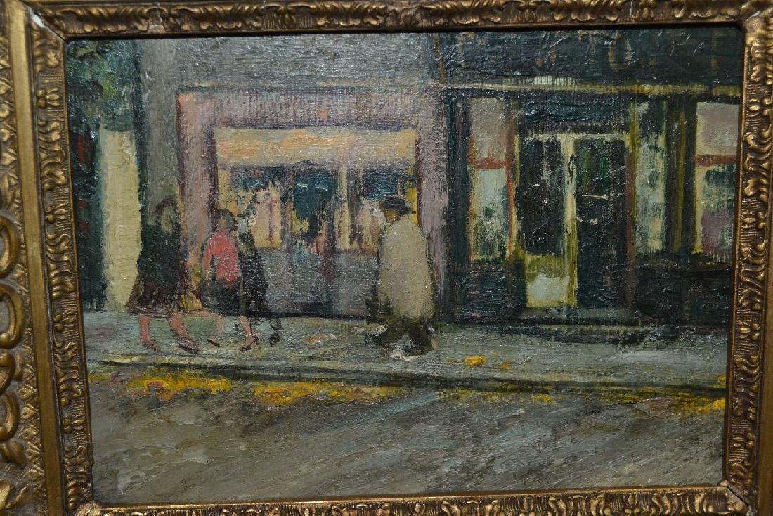 Oil on board, street scene with figures by shops,