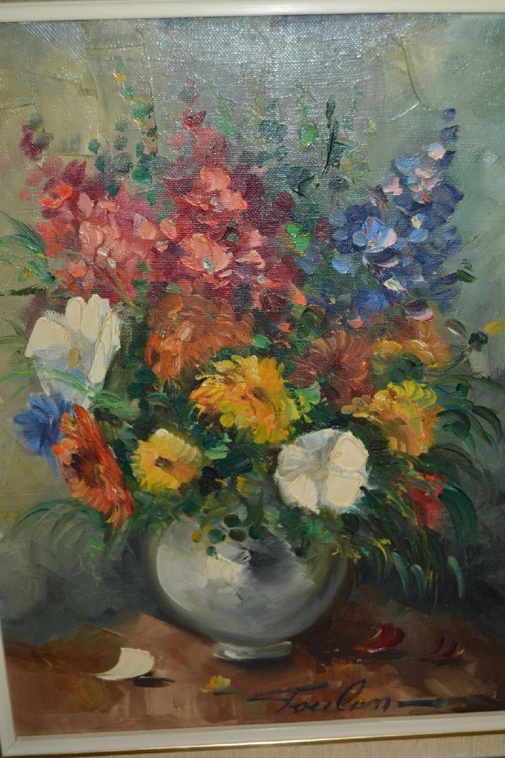 20th Century oil on canvas, still life vase of flowers,