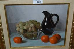 Jaques Blanchard oil on board still life fruit and a