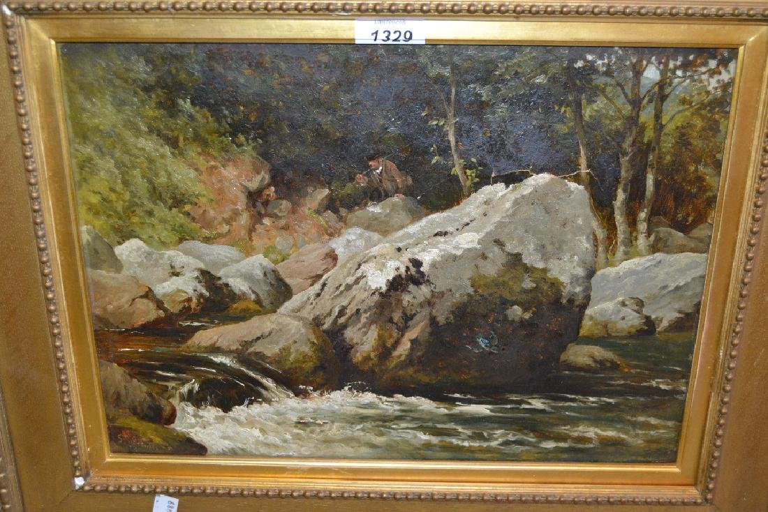 19th Century oil on canvas, river scene with figure on