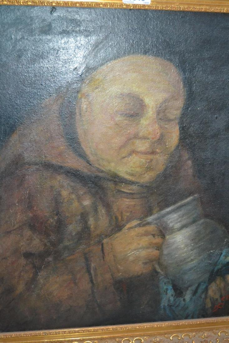 Oil on canvas, portrait of a monk together with an oil