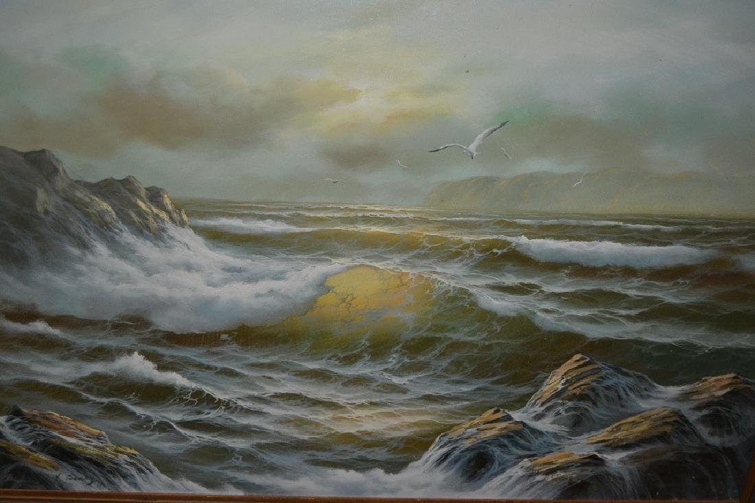 K. Seaby, oil on canvas, seascape, together with a
