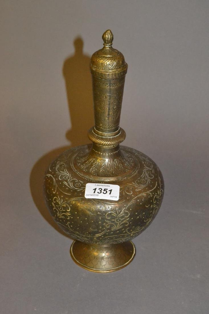 Persian baluster form engraved brass vase with cover