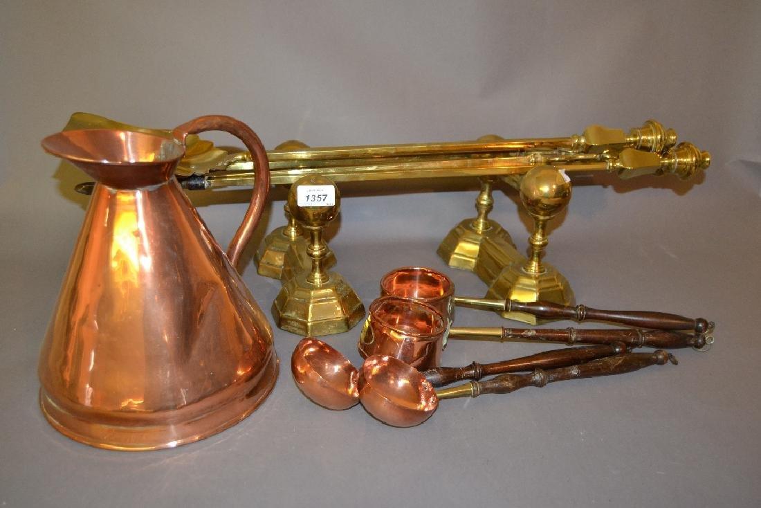 Set of three brass fire irons, pair of andirons