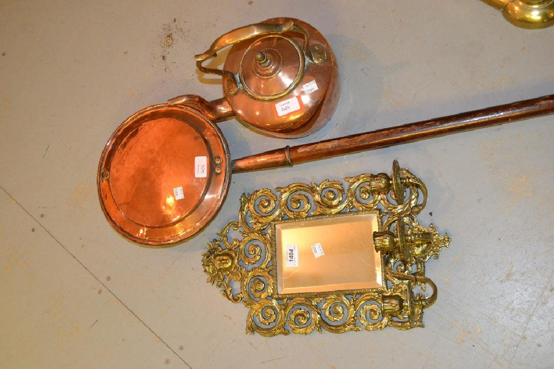 Late Victorian brass three light girandole, an antique
