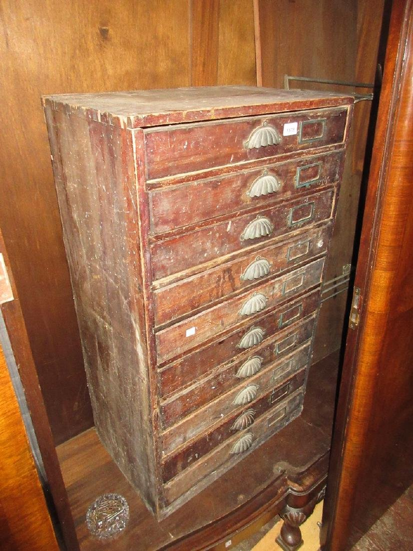 19th Century stained pine ten drawer index cabinet with