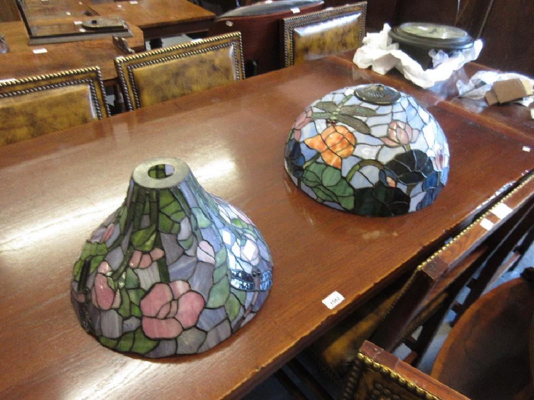 Two Tiffany style coloured leaded glass lamp shades