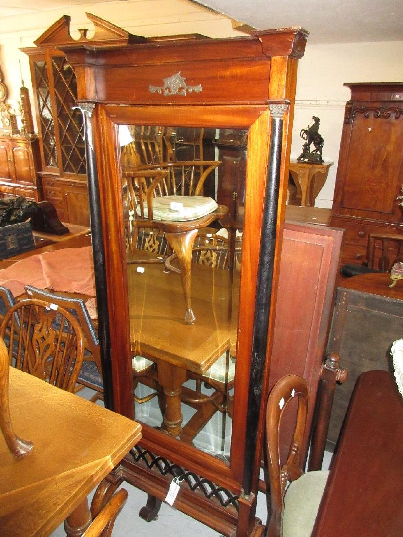Large 20th Century mahogany cheval mirror having