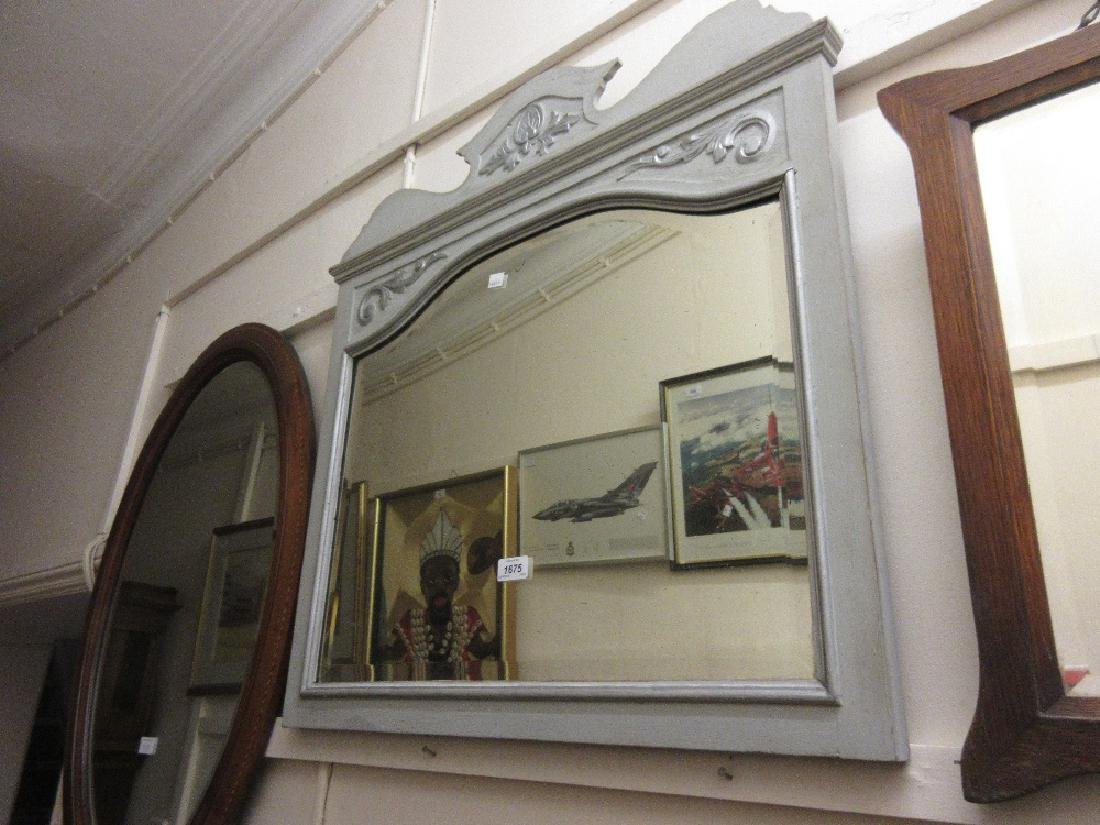 Grey and silver painted wall mirror with carved