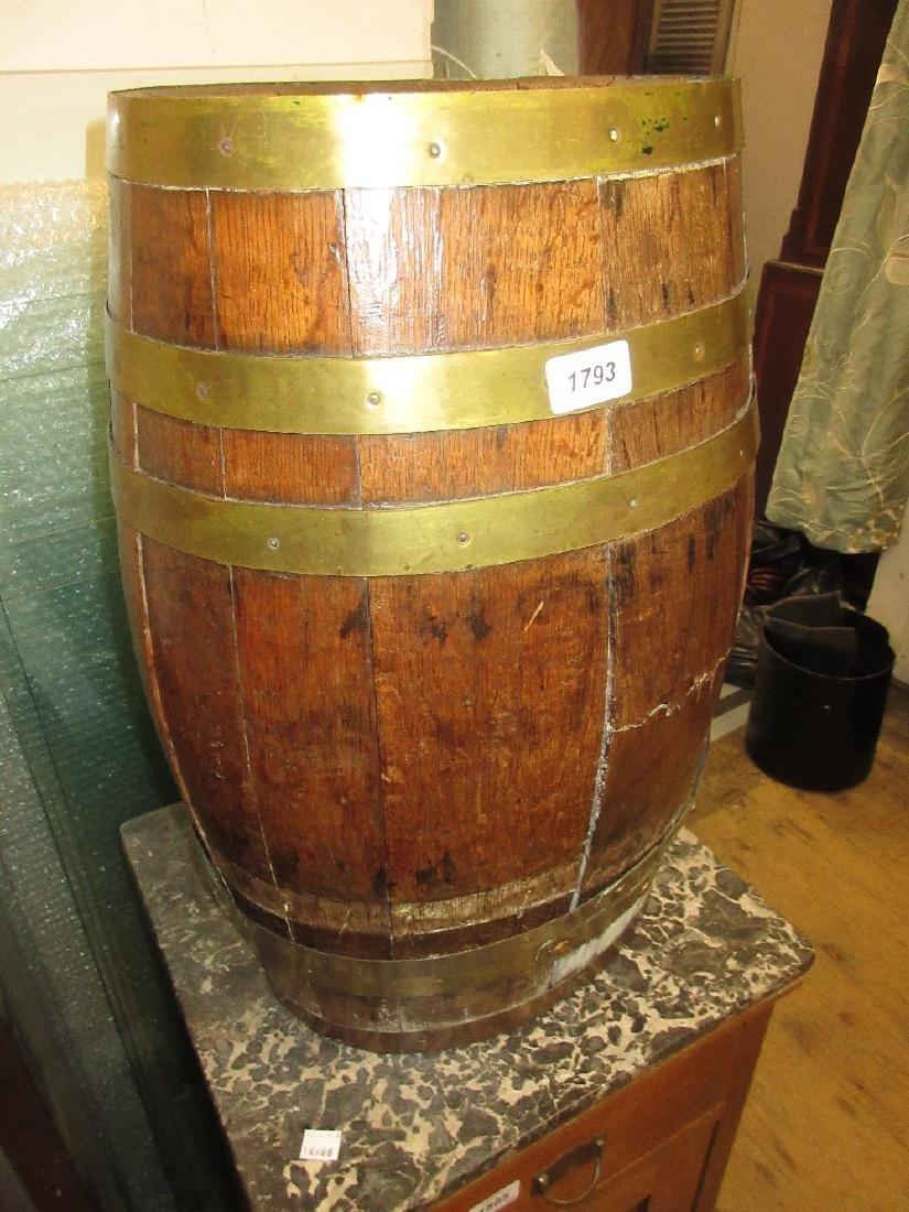 Oak brass bound barrel form stick stand