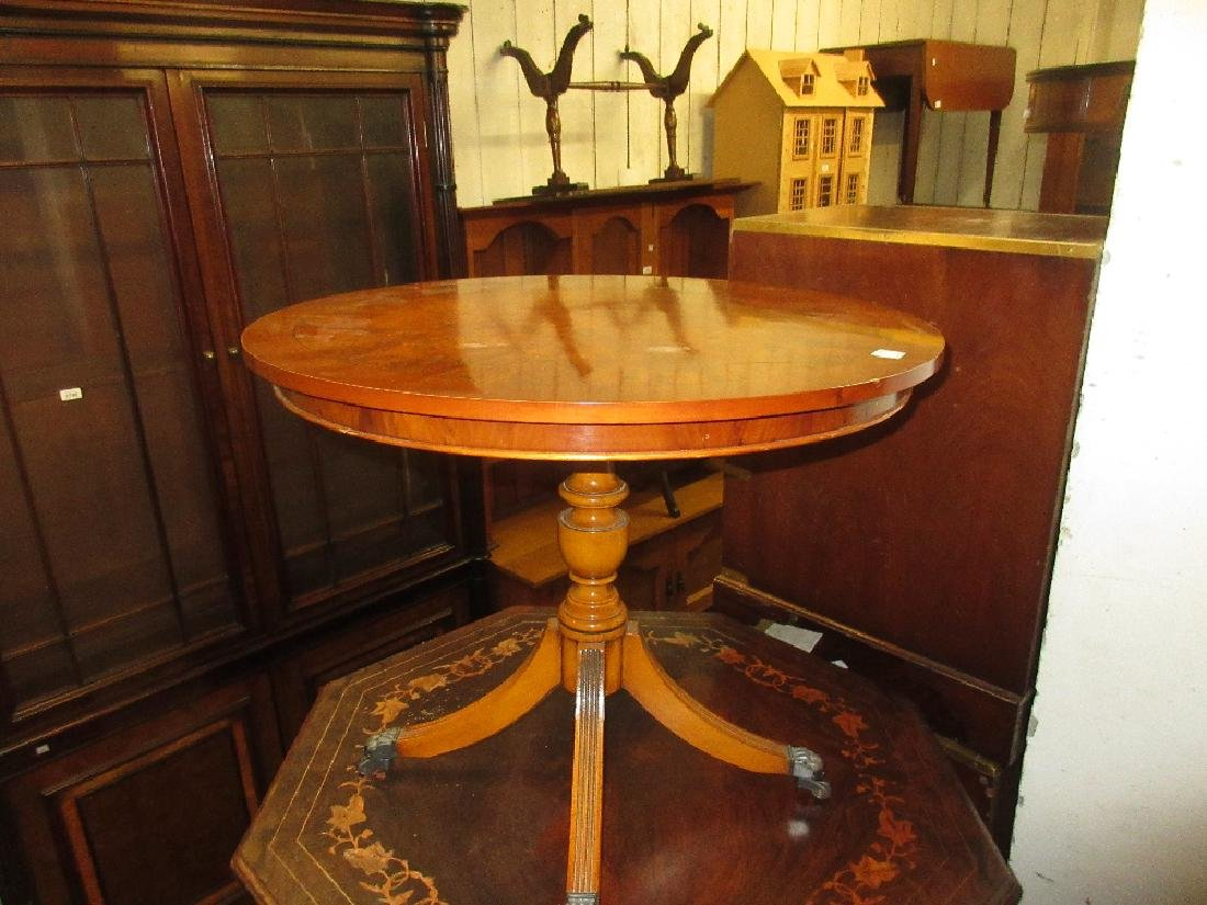 Reproduction circular yew wood occasional table