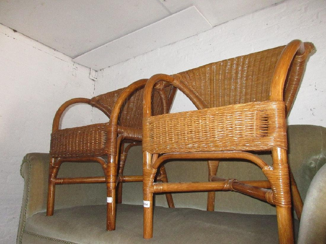 Pair of cane work tub chairs together with a painted