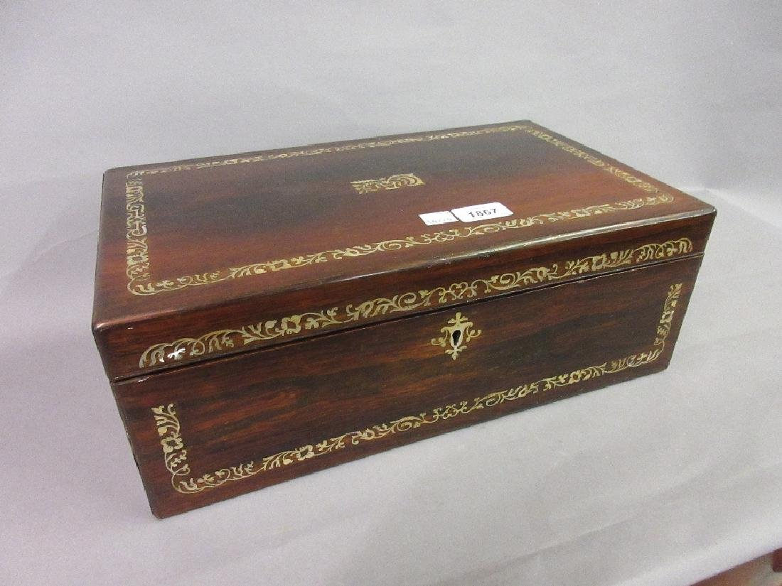 19th Century rosewood and mother of pearl inlaid