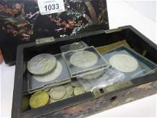 Mother of pearl inlaid box containing a quantity of