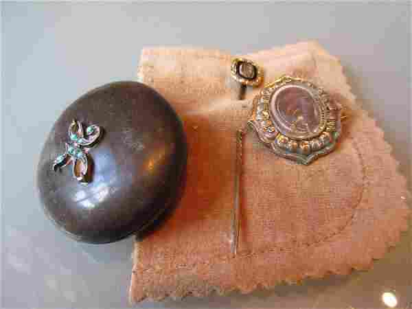 Antique Whitby jet oval locket, mourning stick pin and