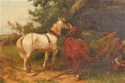 Thomas Blinks, oil on canvas, study of horses feeding