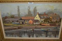 John Neale oil on board harbour scene with figures at