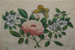Box containing five unframed Chinese school paintings