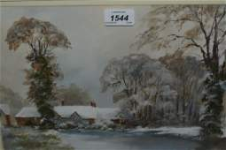 G Sinden oil on board view of cottages in a wintry