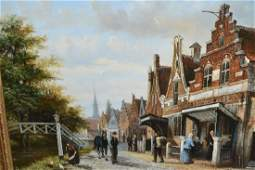 L Roth pair of oil paintings on board Dutch street