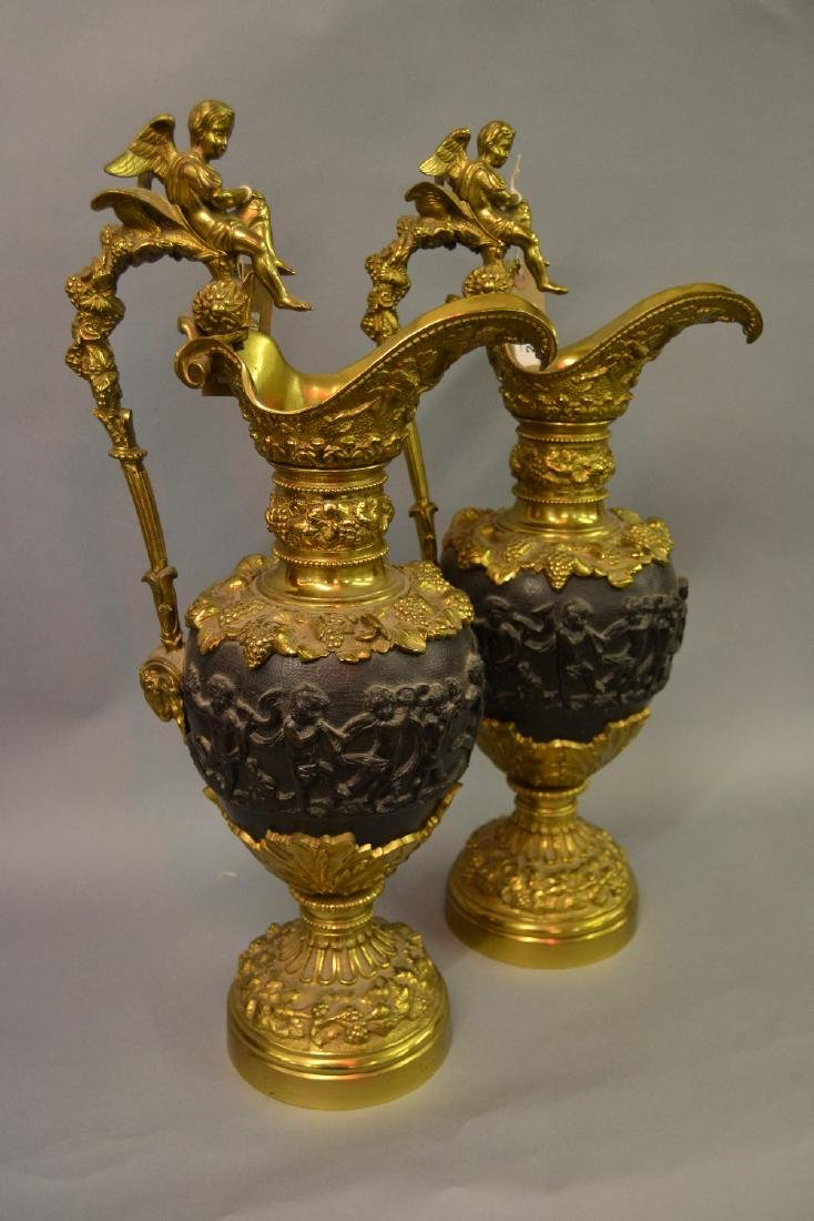 Pair of 19th Century gilt bronze and brown patinated
