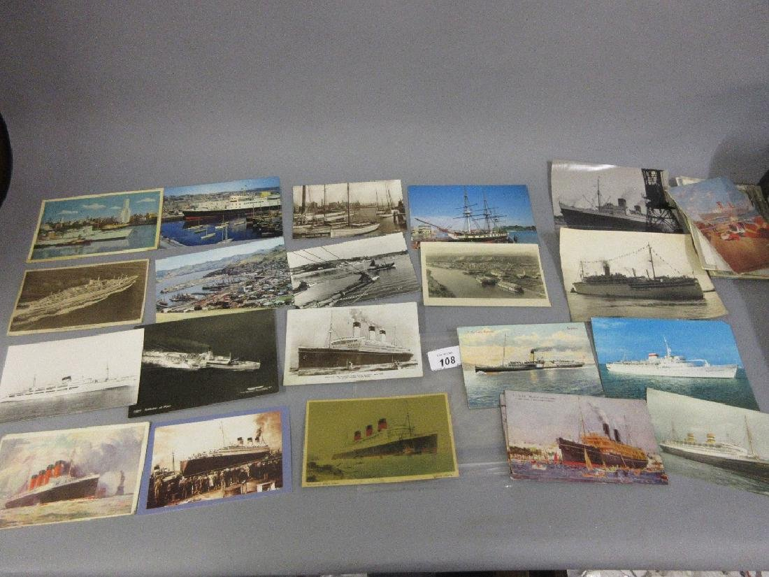 Quantity of shipping related photographs and postcards