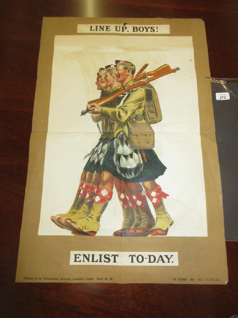 World War I recruiting poster ' Line Up Boys, Enlist