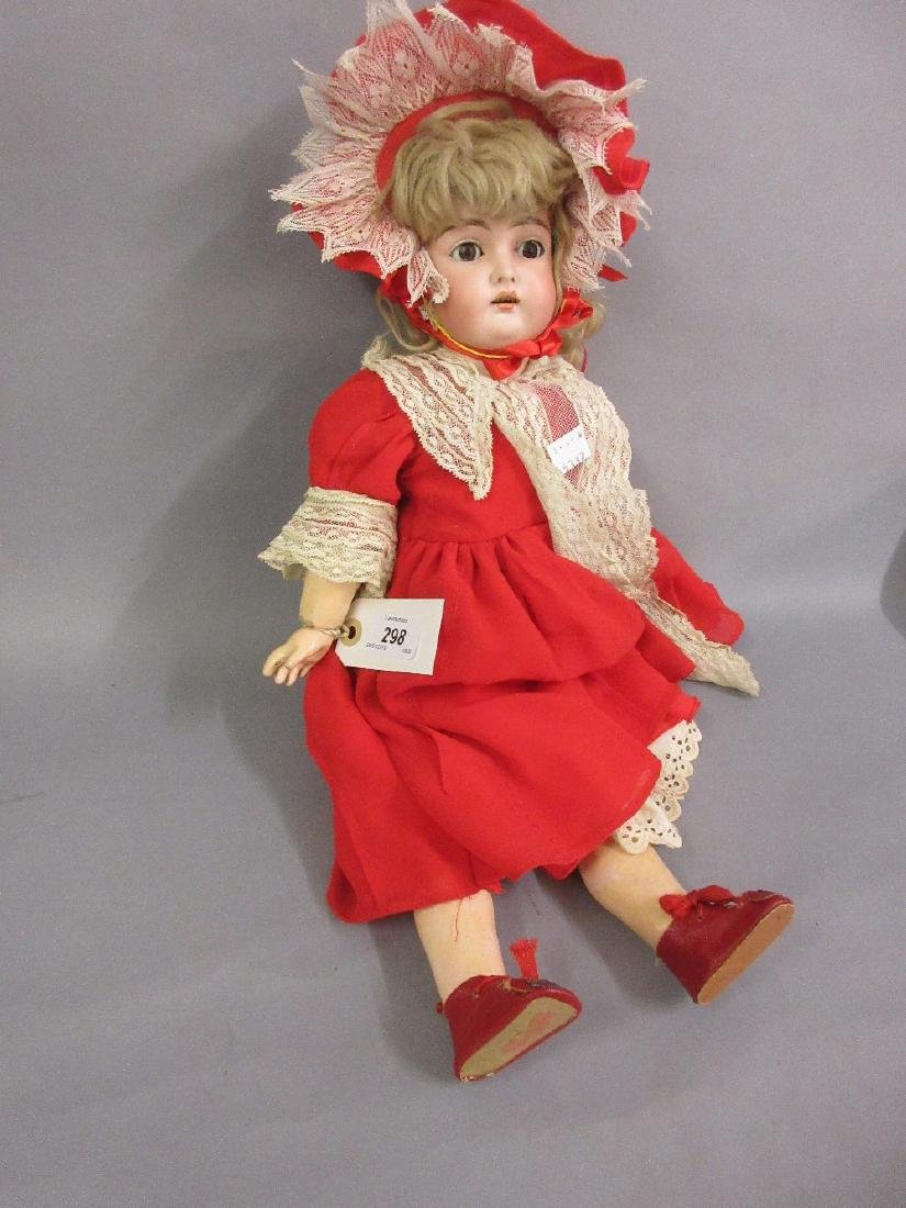 18in German bisque headed doll, the head inscribed S.