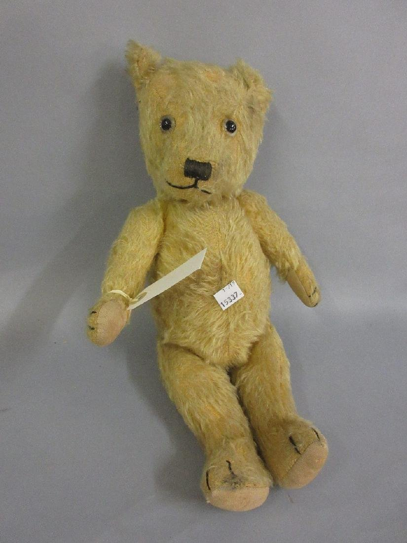Gold mohair straw stuffed jointed teddy bear, 16ins