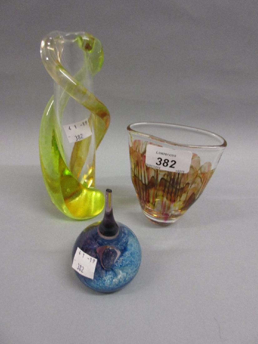Yellow Vaseline and clear Art Glass vase, signed