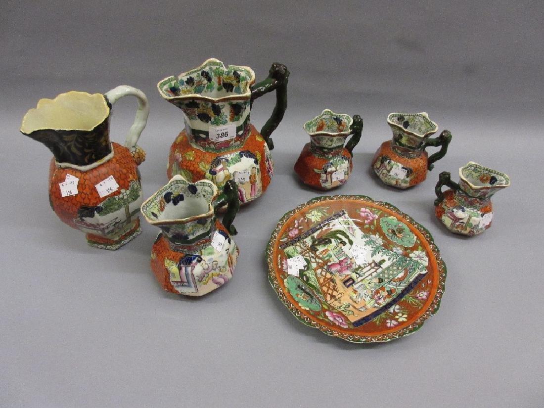 Six various 19th Century Masons Ironstone jugs (two at