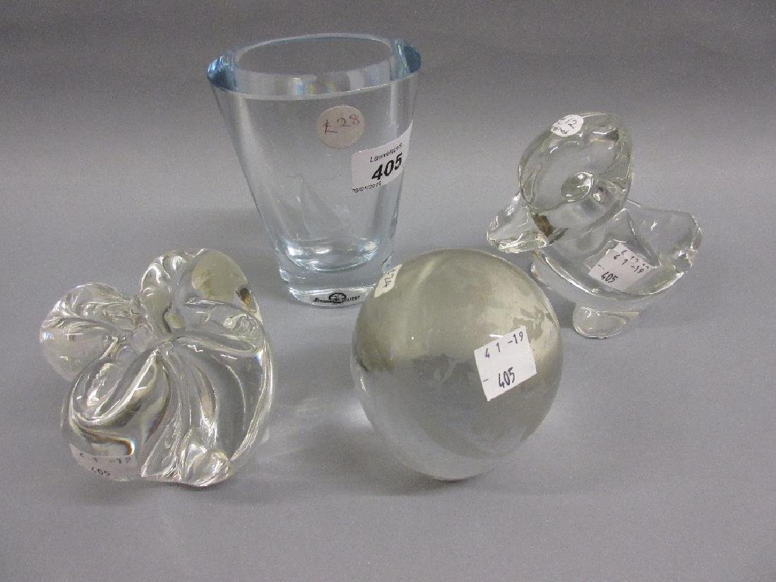 Small Scandinavian Art Glass vase etched with a sailing