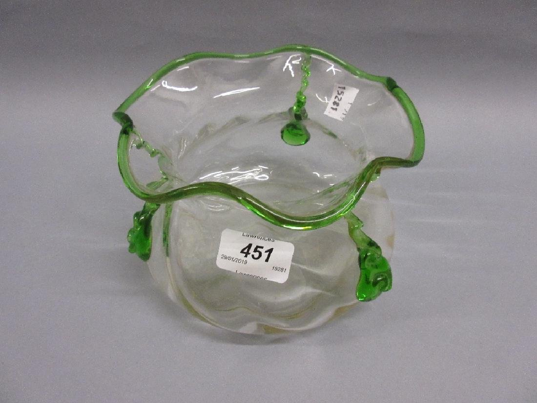 Clear Art Glass bowl with raised green glass decoration