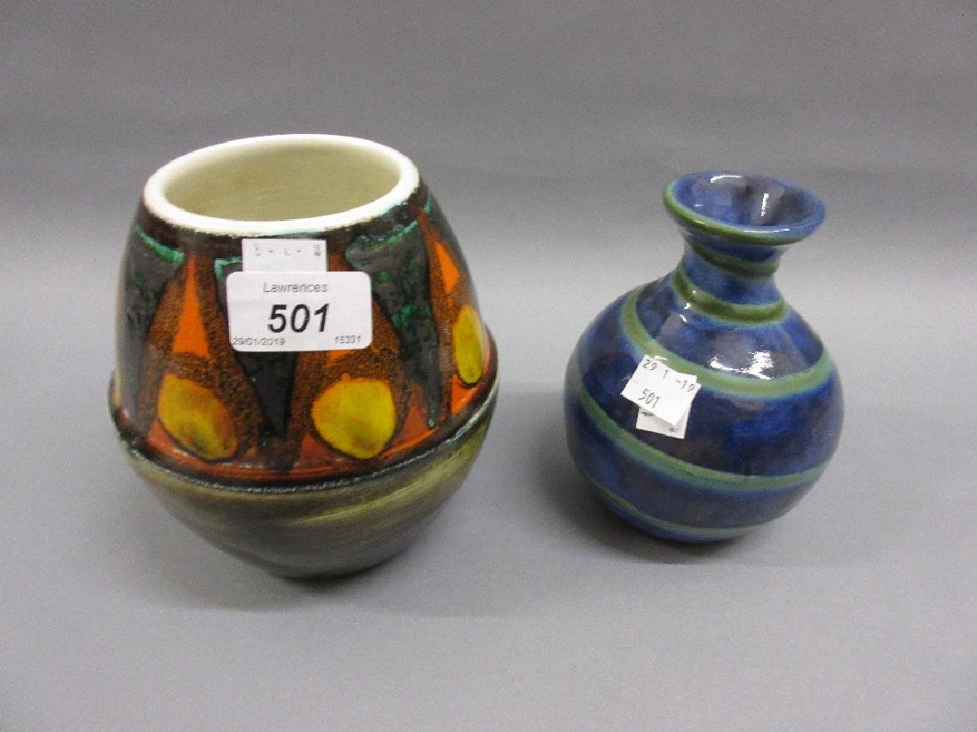 Poole Pottery vase with abstract decoration and another