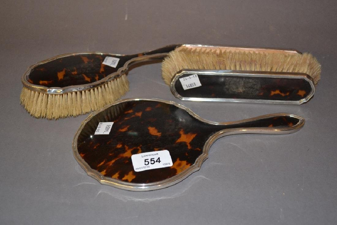 Early 20th Century silver mounted tortoiseshell four