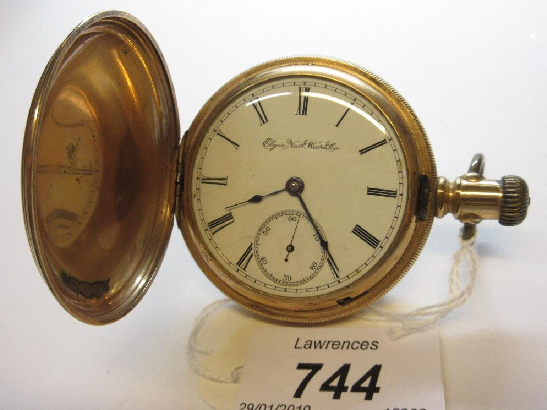 Gold plated full hunter pocket watch by Elgin
